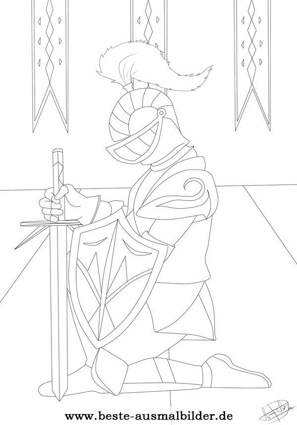 malvorlagen ritter und drachen  kinder zeichnen und ausmalen