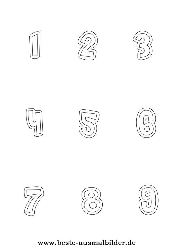 Zahlen- kostenlose Ausmalbilder von Zahlen 1-9 für Kinder