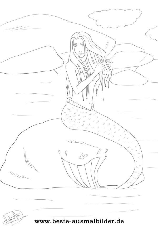 Meerjungfrau Malvorlage - kostenlose Malvorlagen für Kinder