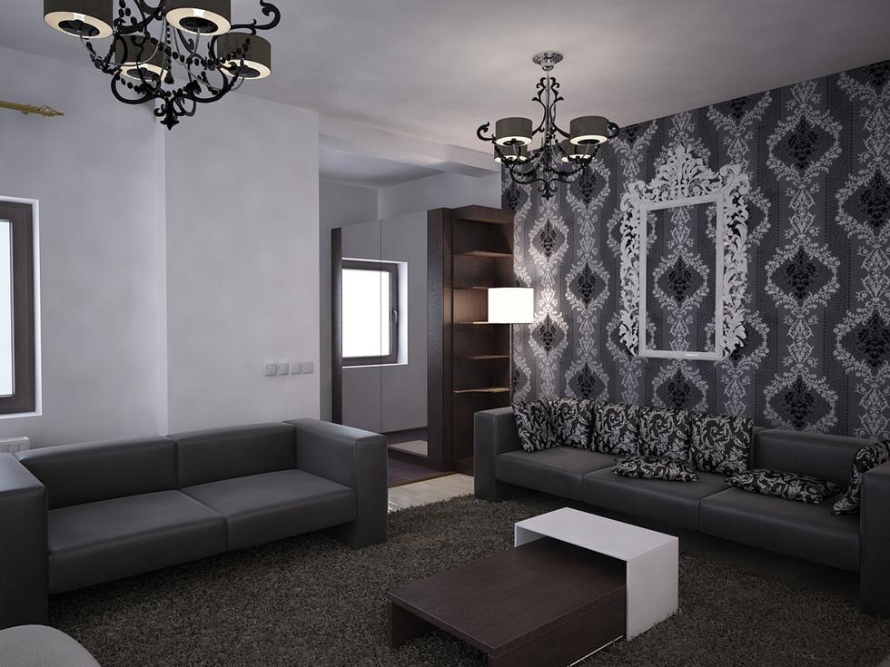 Bilder  3D Interieur Wohnzimmer SchwarzWei Valea Lupului 1