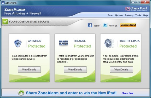 interface zone alarm gratis virusscanner