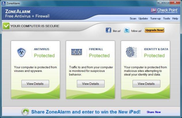 interface zone alarm gratis virusscanner