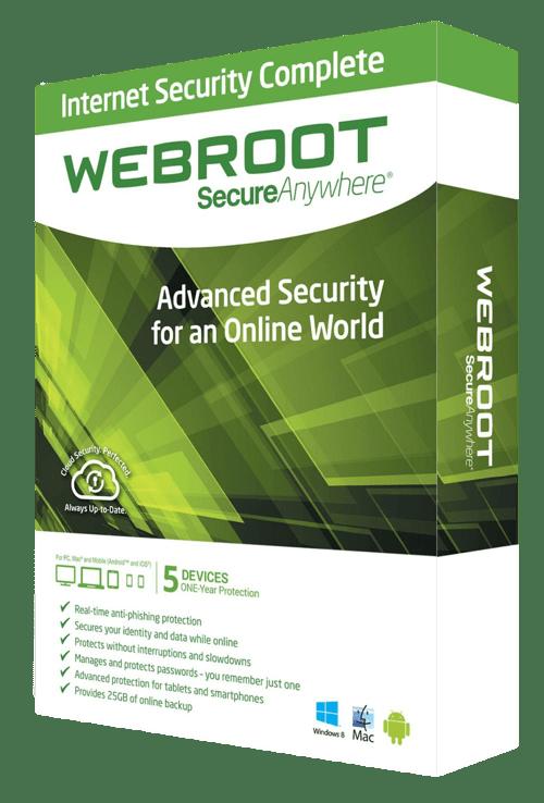 Compleet beveiligings suite van webroot