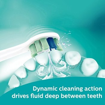 Dynamic cleaning action drives fluid deep between teeth