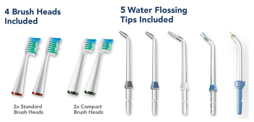5 flossing tips for both WP-900 and WP-950, 4 brush heads for WP-950