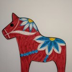 Bestemorsimports Dala Horse Quilling Card Red