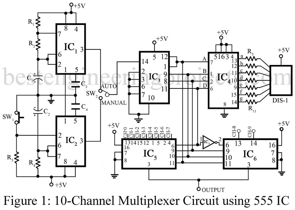 10-Channel Multiplexer Circuit using 555 IC