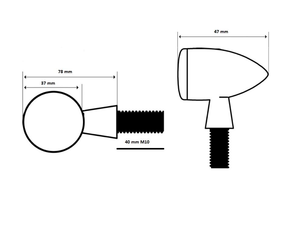 clignotants arizona aluminium noir approuvé E11 long