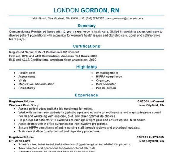 resume templates for pediatric nurse