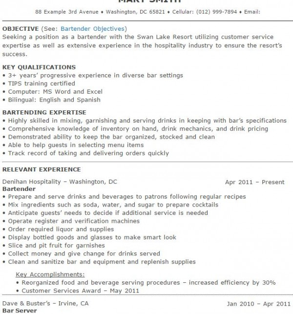 Bartender Resume Samples And Tips