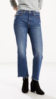 Levi Straight Leg, High Waisted Jean with Frayed Hem