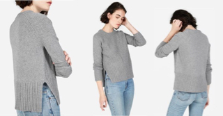 Grey, Ribbed Mock Turtleneck Cashmere Sweater by Everyone