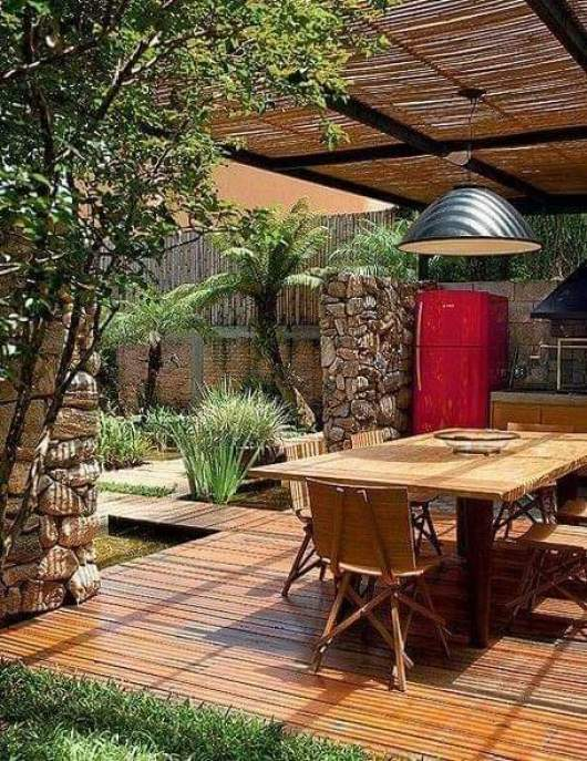 Brown pergola with decor