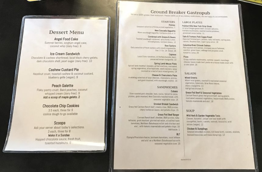 Ground Breaker Gastropub Menu Gluten Free
