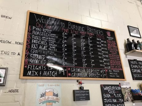 burning brothers brewing taplist gluten free tasting room