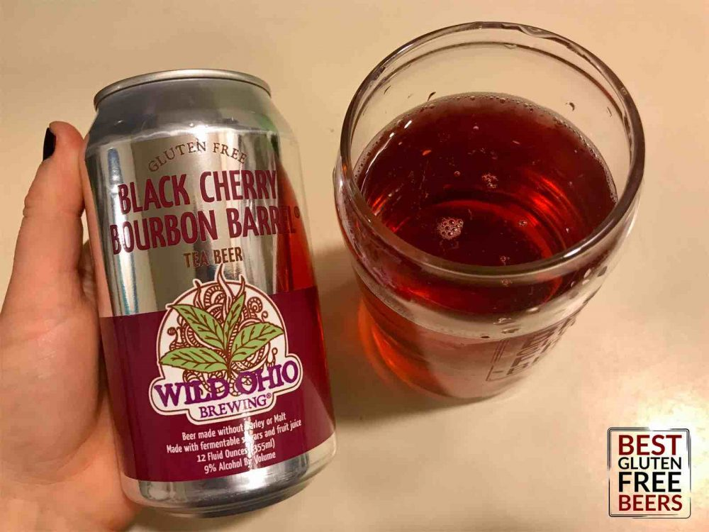 Wild Ohio Black Cherry Bourbon Barrel Tea Beer 3 gluten free tea beer