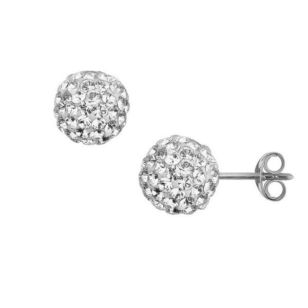 8mm Medium Swarowsky Crystal CZ Ball Stud Earrings Real