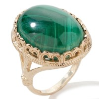 Technibond Cabochon Malachite Gemstone Ring 14K Yellow