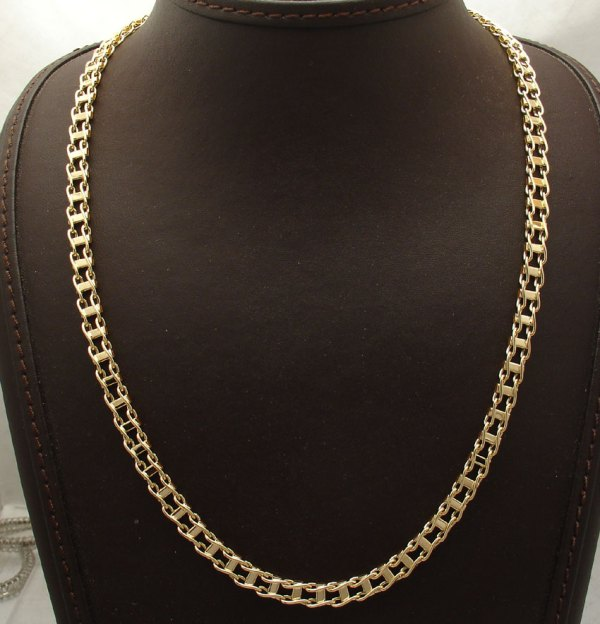 Real 14K Gold Men's Chain Necklace