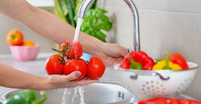 wash and disinfect fruit and vegetables