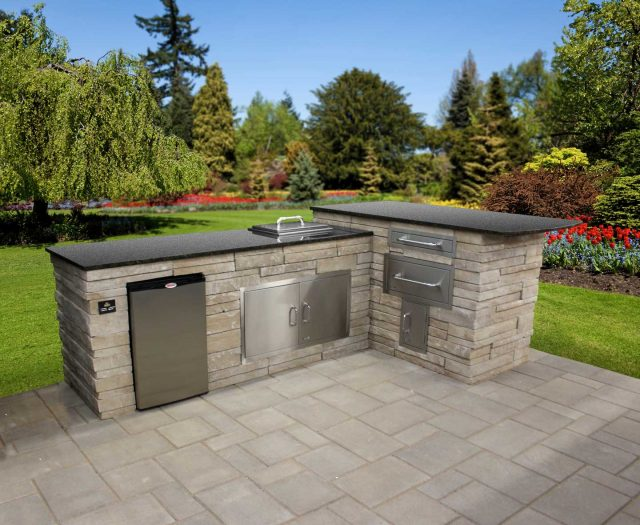 outdoor kitchen composite sinks prefab kitchens patio island bbq custom built in islands