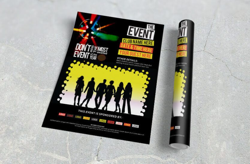bold and vivid event flyer rolled