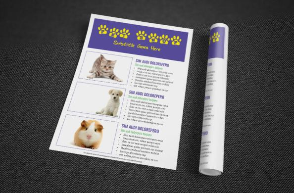 pet shop flyer rolled