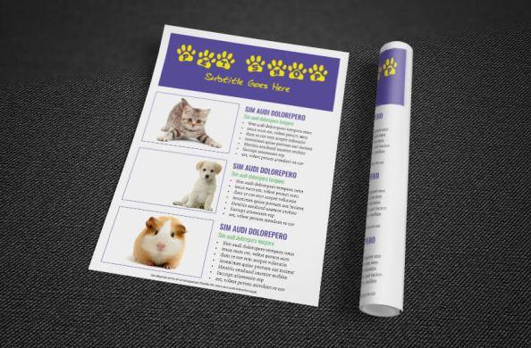 pet shop flyer rolled