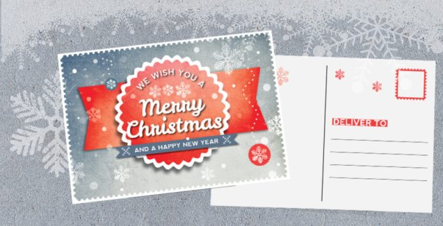 InDesign Retro Christmas Postcard