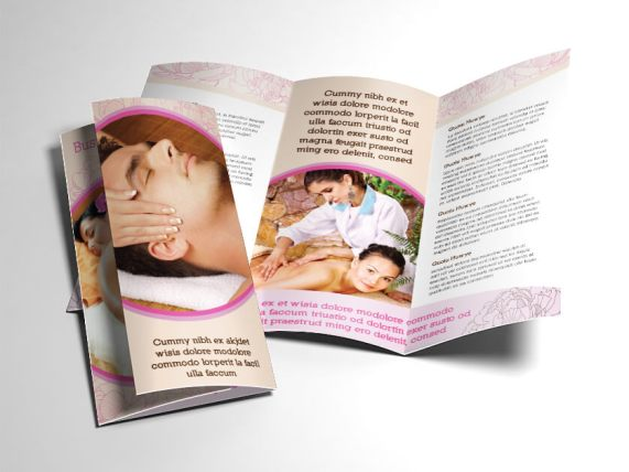 fancy spa massage tri-fold brochure both