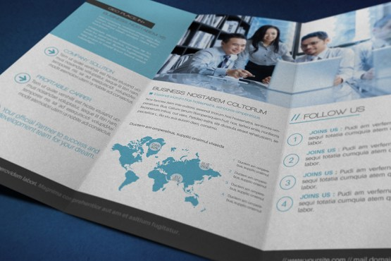 Global Business Trifold Opened Preview