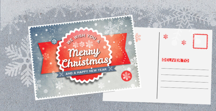 InDesign Postcard Template. 2 Pages Retro Christmas Theme.