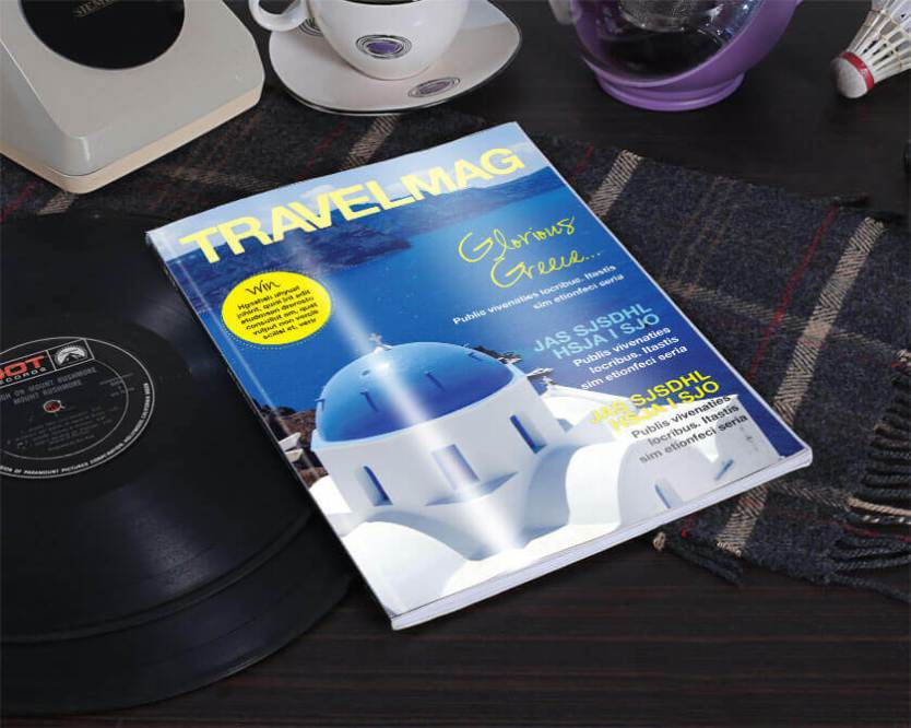 travel magazine cover table