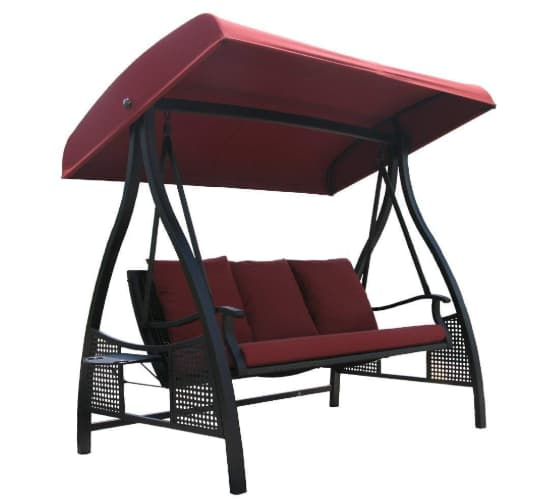Abba patio 3 person outdoor metal gazebo swing