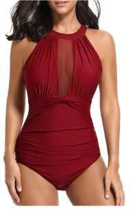 Tempt Me Women One Piece High Neck Plunge Swimsuit