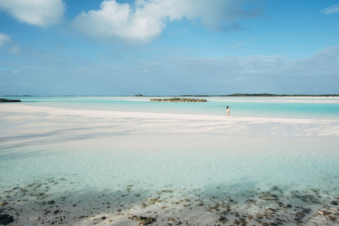 Banc de sable de Man-o-War cay, Exuma, Bahamas
