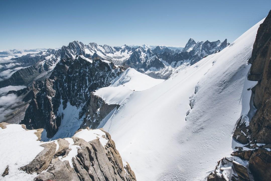 Point de vue depuis l'Aiguille du Midi à Chamonix