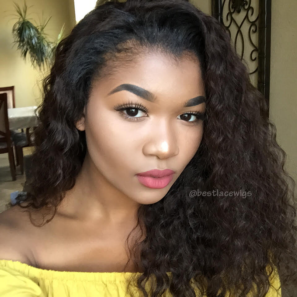 Indian Remy Hair Lace Front Wigs Deep Wave  wwwBestLaceWigscom