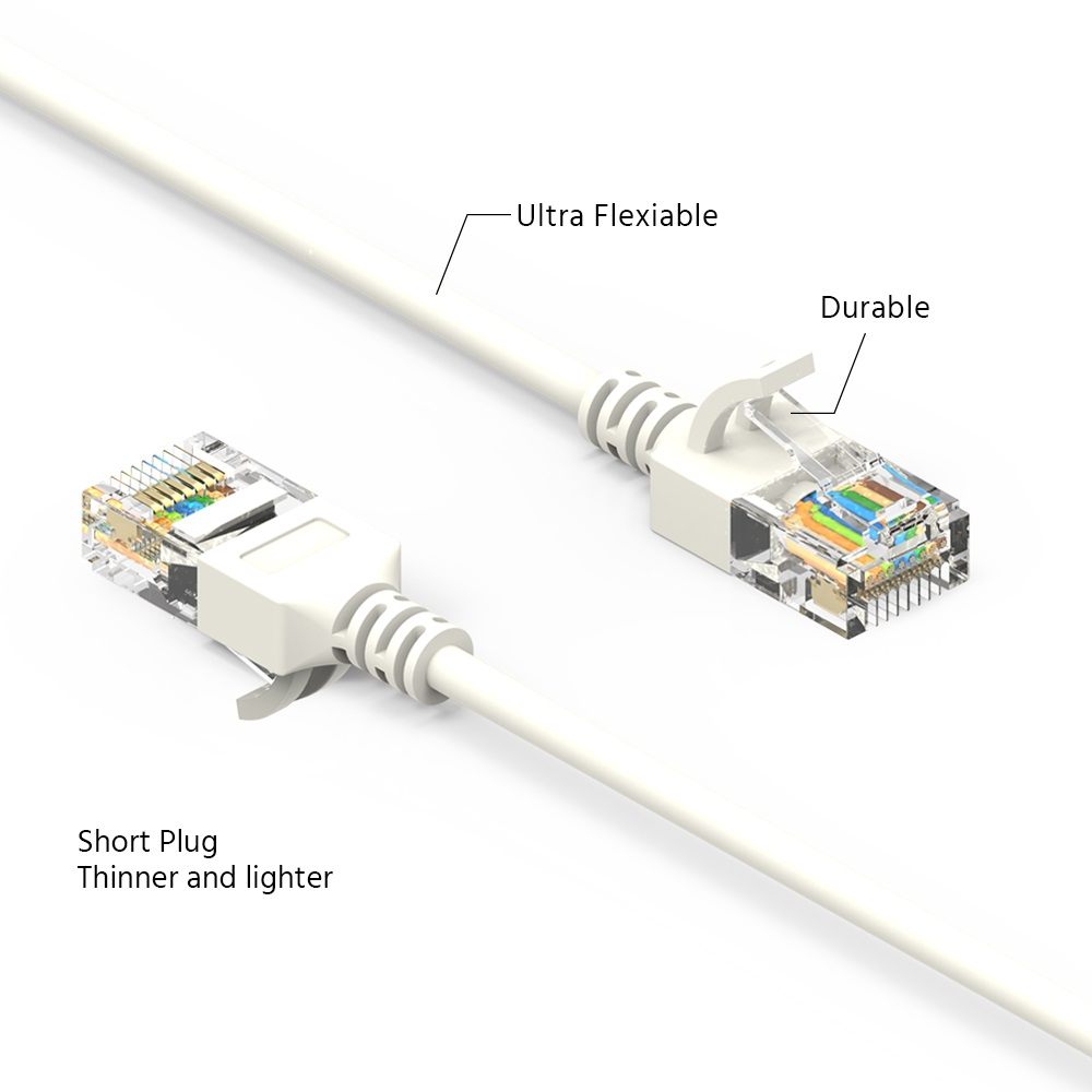 hight resolution of 30ft cat6a utp slim ethernet network booted cable 28awg white bestlink netware