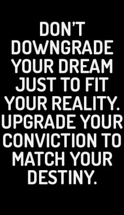 don't downgrade your dream jut fit your reality. upgrade your conviction, to match your destiny