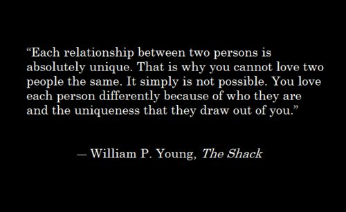 each relationship between two persons is absolutely unique ...