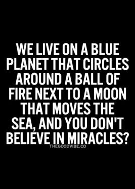 we live on a blue planet that circles around a ball of fire next to a moon that moves the sea, and you don't believe in miracles