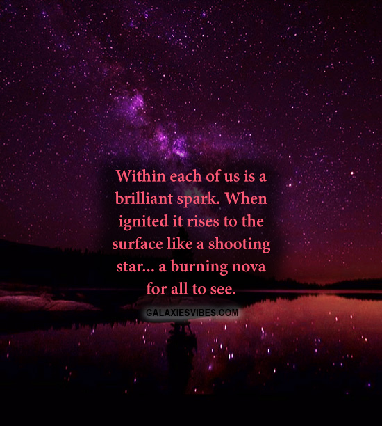 Within each of us is a brilliant spark  When ignited it rises to the