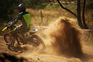 Dust spray from dirtbike