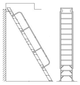 Alaco H60, Ships Stair 60 Deg. Wall-Mount Ladder w