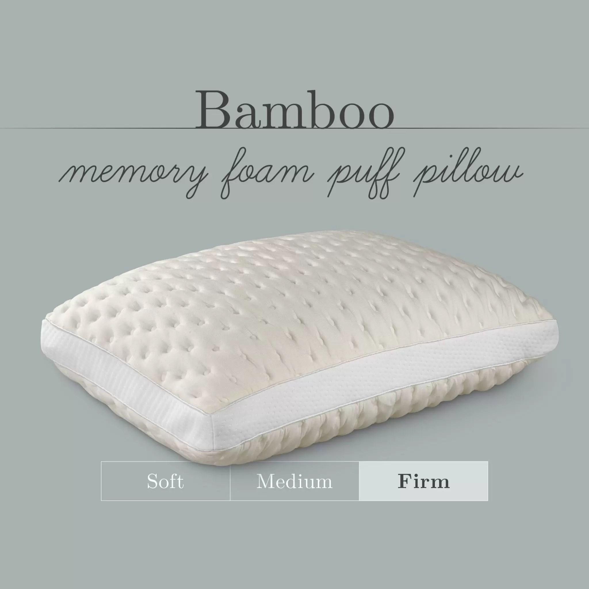bamboo memory foam puff firm pillow
