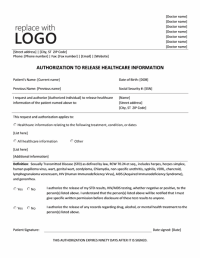 Authorization To Release Healthcare Information Form ...