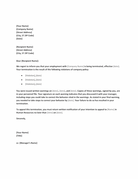 termination letter due to lack of work
