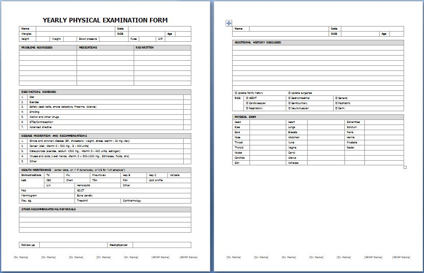 general physical exam form