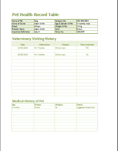 Sample pet health record form printable medical forms letters also tikiritschule pegasus rh